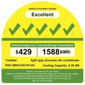 Toshiba RAS-3M40U2ACNG-SG NEA energy label
